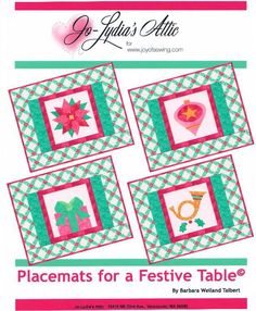 Make a set of Placemats for a Festive Table, using your favorite Christmas colors and fabrics. The pdf pattern is available at www.craftsy.com. holiday, patterns, christmas colors, christma color, pdf pattern, craftsi store, fusibl appliqu, pattern store, placemat