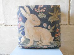 Adorable French footstool, with rabbit and flowers tapestry decor, cottage chic decor, French home decor.
