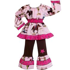 Let your little girl rule the wild, wild west in this AnnLoren two-piece cowgirl outfit. In the pink western-print tunic and the brown pants with matching pink bell-bottom hems, your little filly will be pretty in pink and the best in the west.
