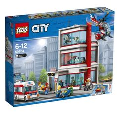 Grab your stethoscope and head to the 60204 LEGO City Hospital, where heroes are needed every day. This set features a hospital building with reception area, kiosk and ambulance dr Lego Hospital, City Hospital, Lego Shop, Buy Lego, Lego City Police, Ambulance, Legos, Bateau Lego, Figurine Lego
