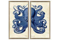 Silver-Framed Octopus Diptych