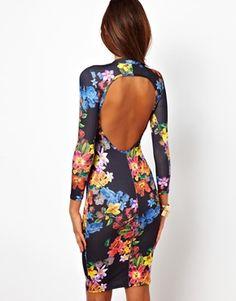 ASOS PETITE Exclusive Body-Conscious Midi Dress In Floral Print