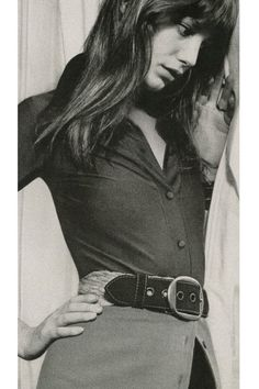 Jane Birkin by Patrick Litchfield, 1971. Almost looks like a belted cardigan that's unbuttoned on the bottom.