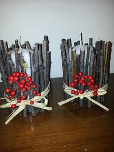 candele rivestite con i legnetti