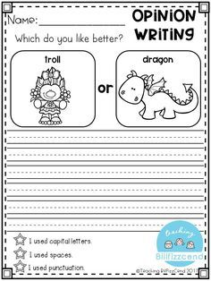 FREE Writing Prompt: Opinion Writing for first grade. This is also great for kindergarten and second grade to build confidence in writing. free writing prompts, freebies, tpt freebies, free kindergarten printables, kindergarten writing, first grade writing, opinion writing, picture prompts.