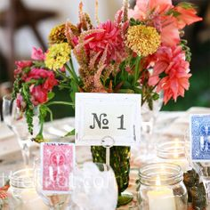 Pink and Yellow Centerpieces