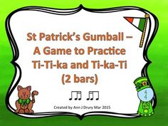 Practice one eighth and two sixteenths, two sixteenths and one eighth, sixteenth notes, quarter notes, paired eighth notes and the quarter rest in this St Patrick's Day themed game. Each rhythm is in 4/4 time signature and is 2 bars long. This game could be played as a team game or individually. It could also be used for assessment purposes.  Stick notation with note-heads is used.