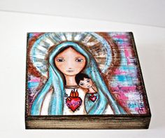 Immaculate Heart of Mary with Child -  Giclee print mounted on Wood (8 x 8 inches) Folk Art  by FLOR LARIOS