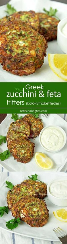 Greek zucchini and feta fritters (Kolokythokeftedes). Adelicious vegetarian recipe, ideal for Meatless Mondays. Served as an appetizer or even a main dish with some tzatziki or a Greek salad on the side. Mediterranean Diet Recipes, Mediterranean Dishes, Zucchini Muffins, Zucchini Patties, Zucchini Fritters, Veggie Patties, Greek Cooking, Greek Dishes, Cooking Recipes