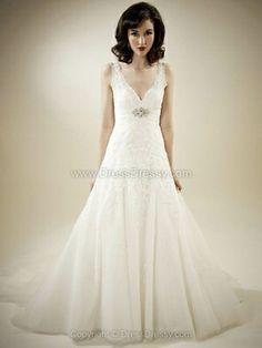 A-line V-neck Tulle Satin Sweep Train Appliques Wedding Dresses -$269.69