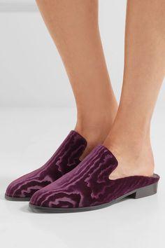 Robert Clergerie - Alice Devoré Velvet Slippers - Dark purple - IT39.5