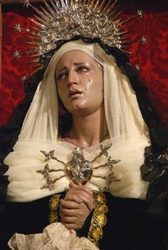 In the 14th century, the Blessed Virgin Mary revealed to Saint Bridget of Sweden (1303- 1373) that those who pray a Hail Mary while meditating on each of her Seven Sorrows will receive seven graces. Description from traditioninaction.org. I searched for this on bing.com/images