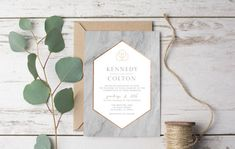 Marble Modern Wedding Invitation Template Printable by WestandPine