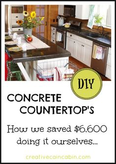 DIY Concrete Countertops on a Budget ~ We only paid $400 by doing it ourselves ~ Creative Cain Cabin