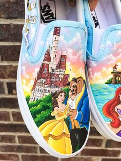 disney painted Shoes beauty and the beast The little Custom Vans Shoes, Custom Painted Shoes, Disney Vans, Disney Shoes, Disney Painted Shoes, Vans Shoes Fashion, Mermaid Shoes, Cute Disney Outfits, Decorated Shoes