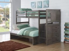 Our slate grey stairway Bunk Beds for Boys or Girls are crafted with durable pine wood, features a modern design that will make a great addition to any bedroom. This bunk bed comes in twin over full s