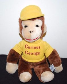 CURIOUS GEORGE PLUSH STUFFED ANIMAL YELLOW HAT VINTAGE 1984