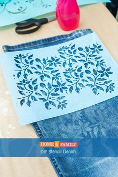 DIY Stencil Denim – Update an old pair of jeans by using bleach to stencil the denim. DIY by /orlyshani/ on Home and Family! DIY Stencil Denim – Update an old pair of jeans by using bleach to stencil the denim. DIY by /orlyshani/ on Home and Family! Stencils, Stencil Diy, Fabric Crafts, Sewing Crafts, Sewing Projects, Diy Projects, Sewing Hacks, Sewing Tutorials, Sewing Patterns