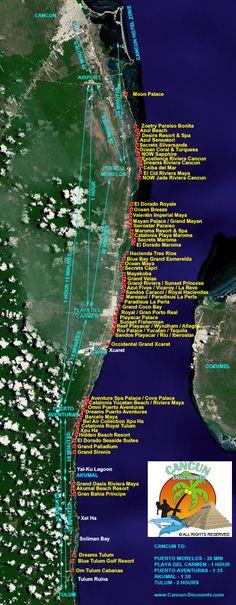Riviera Maya Hotel Map 2012