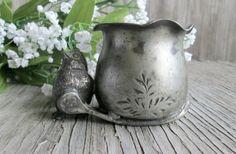 Vintage Silber Zahnstocher Halter, Silver Bird Zahnstocher Cup, schäbige Hütte rustikal
