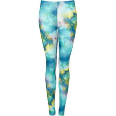 Space Print Leggings (265 CZK) ❤ liked on Polyvore