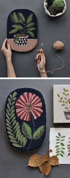 Embroidery Stitches Punchneedle illustration by Arounna Khounnoraj // Embroidery Needles, Cross Stitch Embroidery, Embroidery Patterns, Hand Embroidery, Knitting Needles, Textiles, Punch Needle Patterns, Contemporary Embroidery, Needle Felted