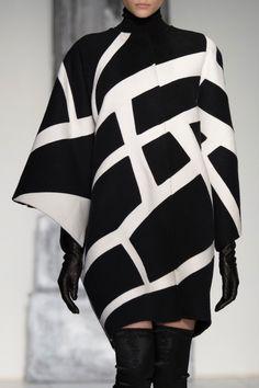 Black & white coat with graphic print; geometric fashion details // Laura Biagiotti Fall 2015