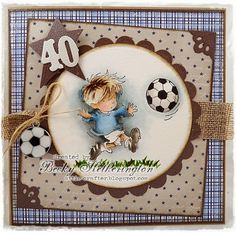 Football Crazy by Becky . masculine browns and blues . adorable little guy playing soccer . Lily of the Valley Birthday Cards For Boys, Masculine Birthday Cards, Handmade Birthday Cards, Man Birthday, Masculine Cards, Boy Cards, Kids Cards, Beautiful Handmade Cards, Watercolor Cards