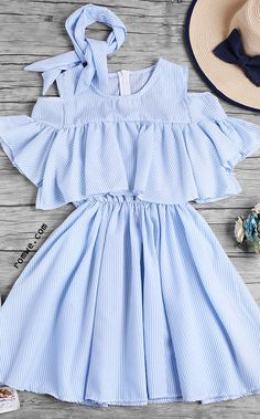 Open Shoulder Fluted Sleeve Striped Frill Dress With Ribbons - Trendy Outfits Teen Fashion Outfits, Cute Fashion, Look Fashion, Girl Fashion, Girl Outfits, Fashion Dresses, Fashion Tag, 90s Fashion, Fashion News