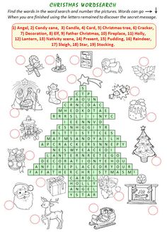 Christmas Wordsearch - SUCH a cool website for teachers with tons of worksheets and material!