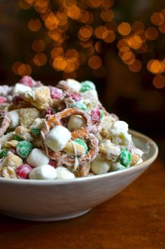 Reindeer Chow--(Chex, pretzels, marshmallows, m&ms, salted peanuts mixed with white chocolate)