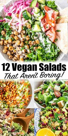 Are you looking for vegan salad recipes that aren't boring or plain? Then this is the perfect post for you! These 12 vegan salad recipes make the perfect lunch or dinner! recipes healthy vegetarian 12 Vegan Salad Recipes That Aren't Boring Salad Recipes For Dinner, Vegan Dinner Recipes, Chicken Salad Recipes, Healthy Salad Recipes, Raw Vegan Dinners, Vegan Pasta Salads, Healthy Salads For Dinner, Vegan Recipes Summer, Vegan Lunch Healthy