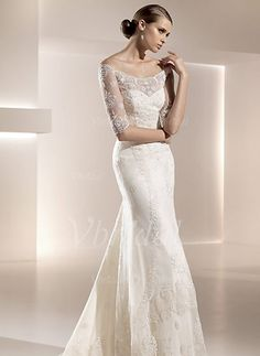 Wedding Dresses - $219.99 - A-Line/Princess Off-the-Shoulder Chapel Train Satin Tulle Wedding Dress With Lace (00205001162)