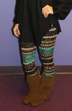 I really like the loose solid color sweater with the printed tights!