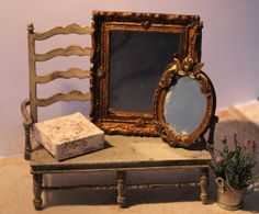 Golden mirrors, dollhouse miniatures, scale 1:12. Petit Brocante, 2013