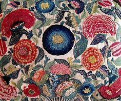 Floral Appliqué Embroidered  English, 2nd quarter of the 18th c. by araceli