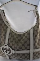Gucci GG cream trim handbag