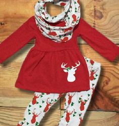 baby girl christmas scarf outfit reindeer personalize monogram leggings girl clothes baby toddler girl outfit scarf set by moxiegirlboutique on etsy