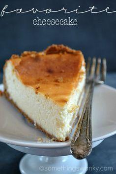 My favorite Cheesecake recipe. I'll never make another cheesecake recipe ever again!! #recipe at www.somethingswanky.com