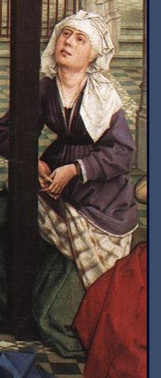 15 th century blue overkirtle pleated with chequered fabric (	 Rogier van der Weyden 1400-1464, Seven Sacraments Altarpiece)