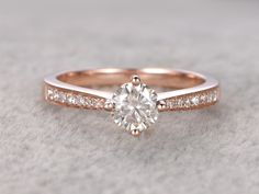 5mm Round Cut Moissanite and Diamond Engagement Ring 14k Rose gold Classic 4-Prongs