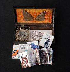 Inside Bird Kit you will find a small birds nest with one tiny egg, wings, and five small accordion books.