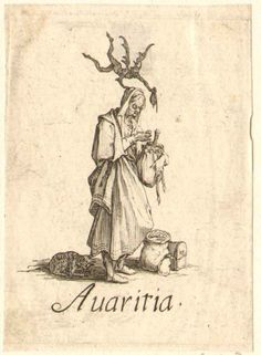 Avarice: old female figure, turned to right, holding a bag of coins and looking at one through spectacles; with demon hovering over, and toad and riches at his feet; on white ground. c.1618/25. Jacques Callot