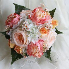 Peachy  Wedding bouquet white hydreangea peach от LaPlumeDeFleur