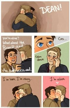 Image about girl in Destiel by marhescam on We Heart It Supernatural Destiel, Supernatural Drawings, Supernatural Pictures, Sam E Dean Winchester, Dean And Castiel, Destiel Fanart, Angels And Demons, Cute Comics, Cute Gay