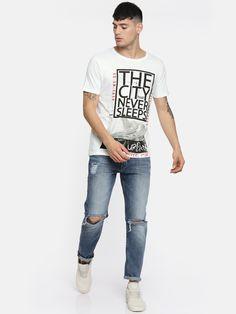 Buy Moda Rapido Men White Printed Round Neck T Shirt - Tshirts for Men 5613490 | Myntra