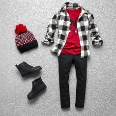 Boys' fashion | Kids' clothes | Plaid button-down shirt | Graphic tee | Skinny pants | Boots | Pom pom beanie | The Children's Place