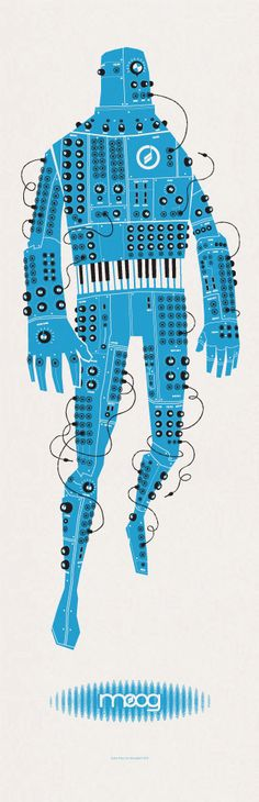"Moogfest 2011 by John Solimine, via Behance [Incidentally, if you don't know the history of the MOOG synthesizer and the ""Switched on"" albums with artist Wendy Carlos (born Walter Carlos), you're missing out. Sketch Manga, Arte Popular, Grafik Design, Electronic Music, Anime Manga, Graphic Illustration, Illustrations Posters, Cool Art, Concept Art"