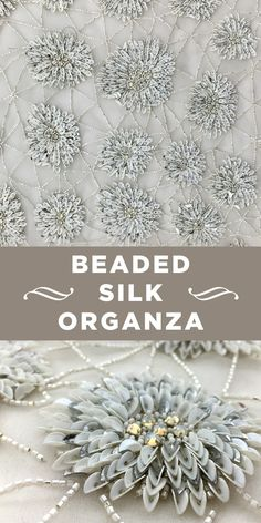 Neutral-tone Beaded Dahlia and Pattern Silk Organza Zardozi Embroidery, Border Embroidery Designs, Embroidery Suits Design, Bead Embroidery Patterns, Tambour Embroidery, Hand Embroidery Flowers, Hand Work Embroidery, Couture Embroidery, Embroidery Fashion