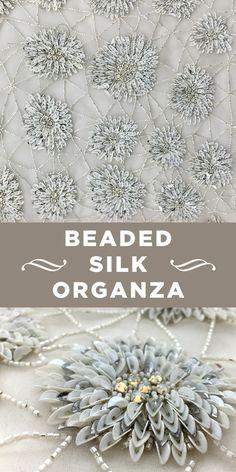 Neutral-tone Beaded Dahlia and Pattern Silk Organza